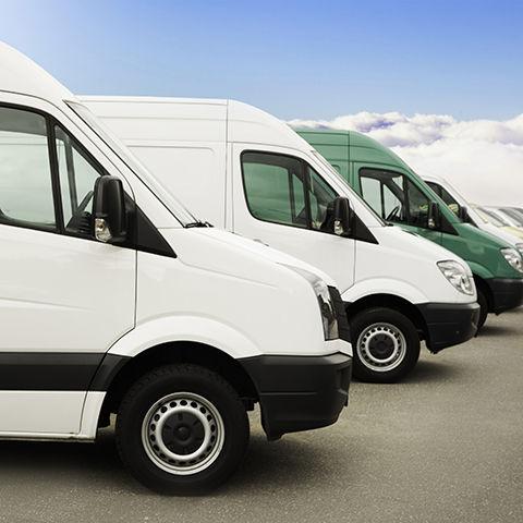 Row of cargo vans