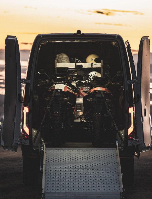 Cargo Van Crew Cab Conversion Interior Cargo Area with Motorcycles
