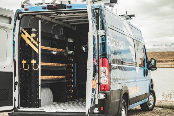 Cargo Van Crew Cab Conversion Interior Cargo Space with Shelves