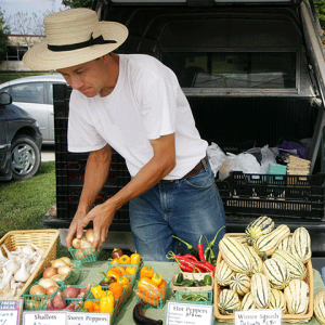 Selling vegetables from a truck