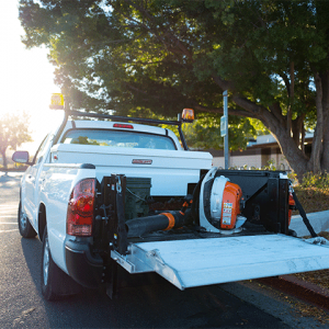 Landscaper truck with liftgate