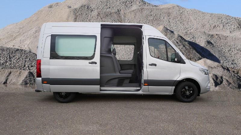 Mercedes Benz Sprinter Van with Cargo Van Crew Cab Conversion Side Image