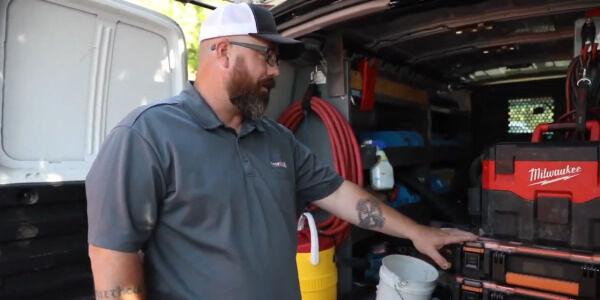 Storage in a plumbers van